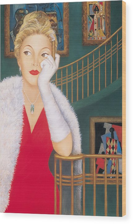 Art Deco Wood Print featuring the painting Contemplating Picasso by Susan Rinehart
