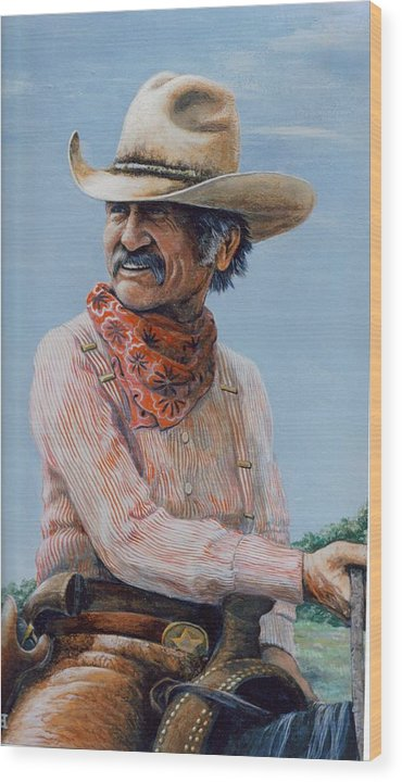 Cowboy Wood Print featuring the print Gus by Lee Bowerman