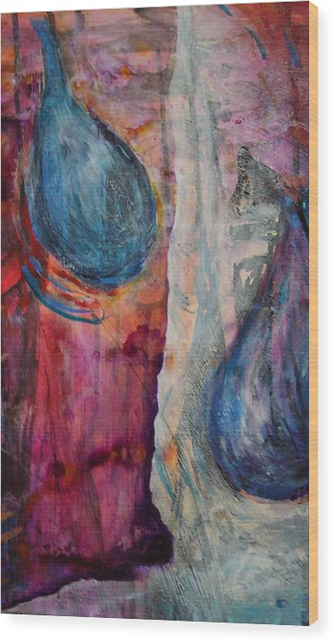 Abstract Wood Print featuring the painting Tears Of Love by Tracey Flanigan