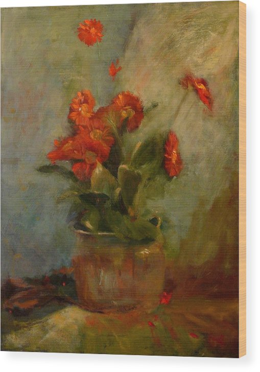 Red Wood Print featuring the painting sold Red Gerberas by Irena Jablonski
