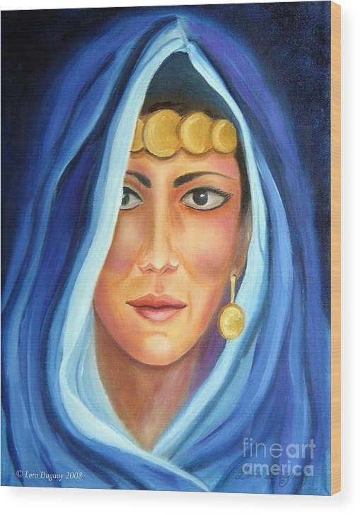 Gypsy Woman Wood Print featuring the painting Shroud Of Mysticism by Lora Duguay