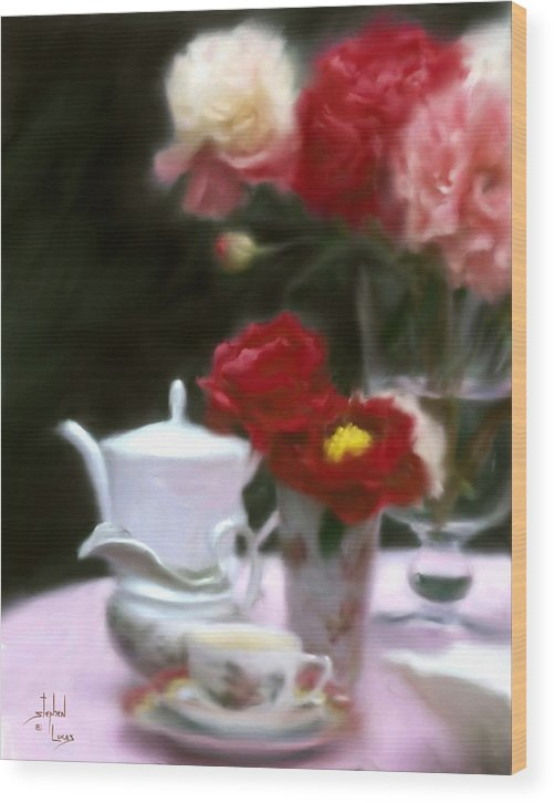 Peonies Wood Print featuring the digital art Afternnon Tea With Peonies by Stephen Lucas