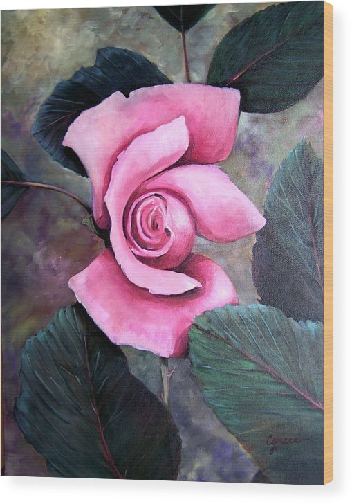 Rose Floral Pink Oil Painting. Oil Wood Print featuring the painting Generational Rose by Cynara Shelton
