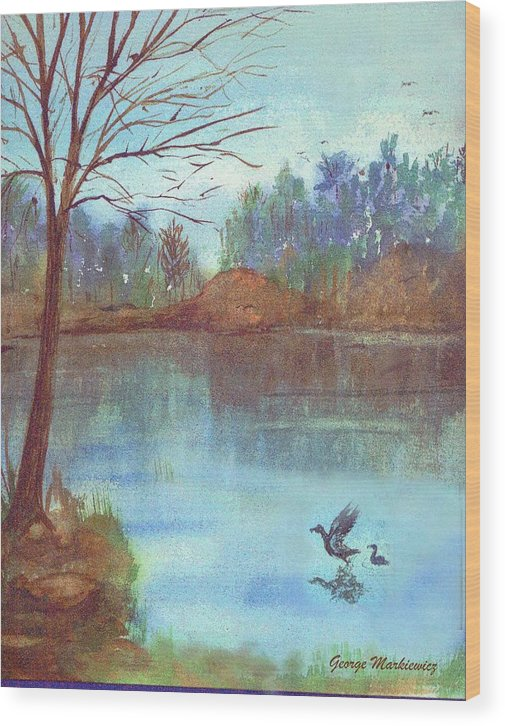 Lake And Ducks Wood Print featuring the print Lake In The Morning by George Markiewicz
