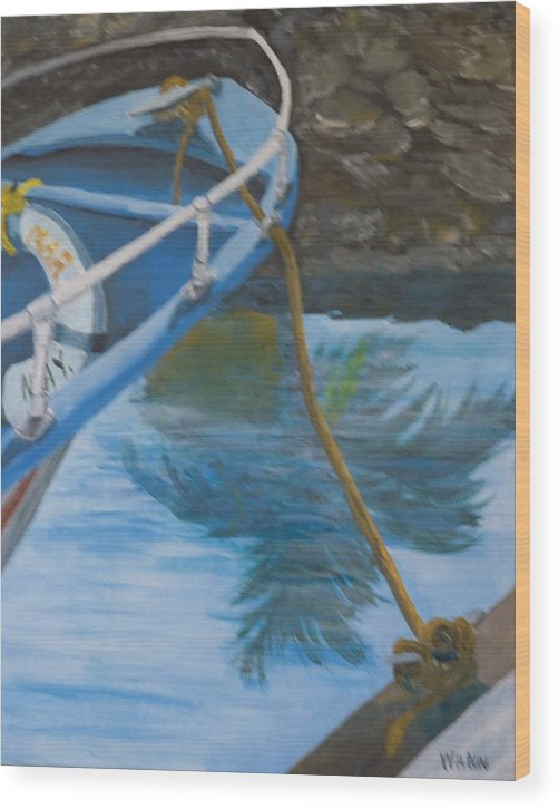 Marine Wood Print featuring the painting Marina Reflections by Anita Wann