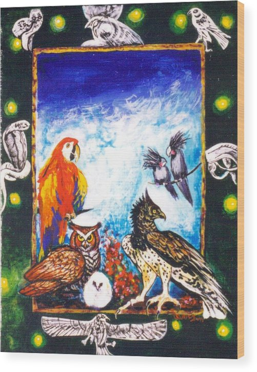 Wood Print featuring the painting Parrot And Eagle by Christine McGinnis