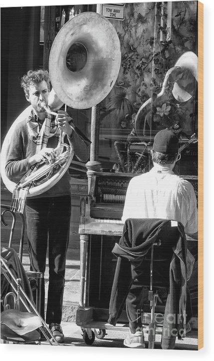 Playing Jazz In New Orleans Wood Print featuring the photograph Playing Jazz In New Orleans by John Rizzuto