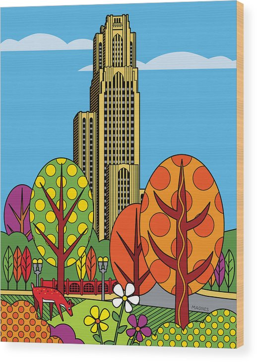 Pittsburgh Wood Print featuring the digital art Cathedral of Learning by Ron Magnes