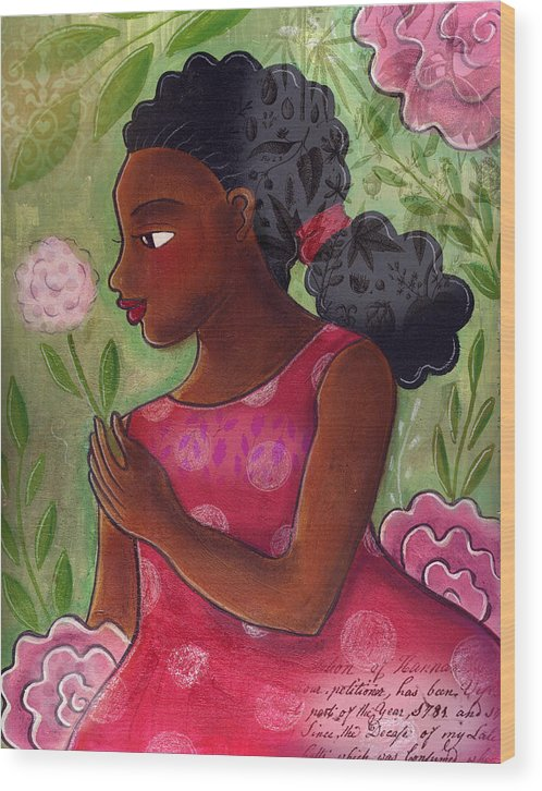 African American Wood Print featuring the mixed media Dandelion by Elaine Jackson
