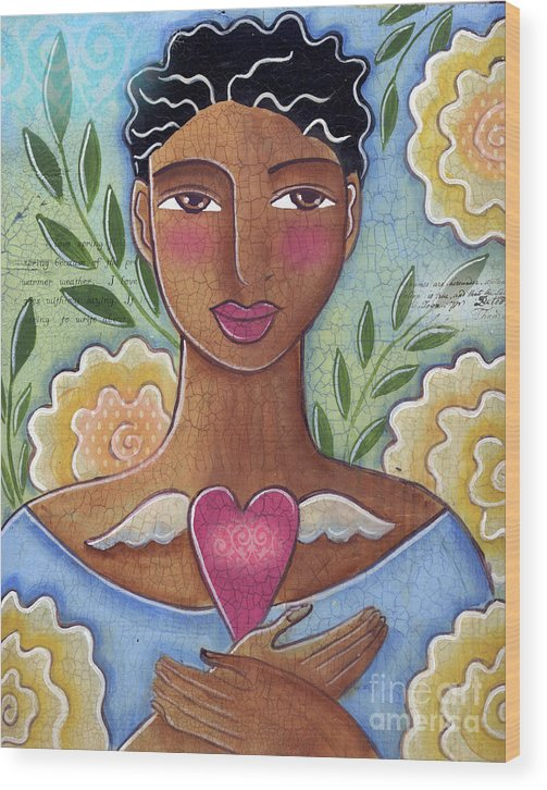 Woman Wood Print featuring the mixed media Precious Heart by Elaine Jackson by Elaine Jackson
