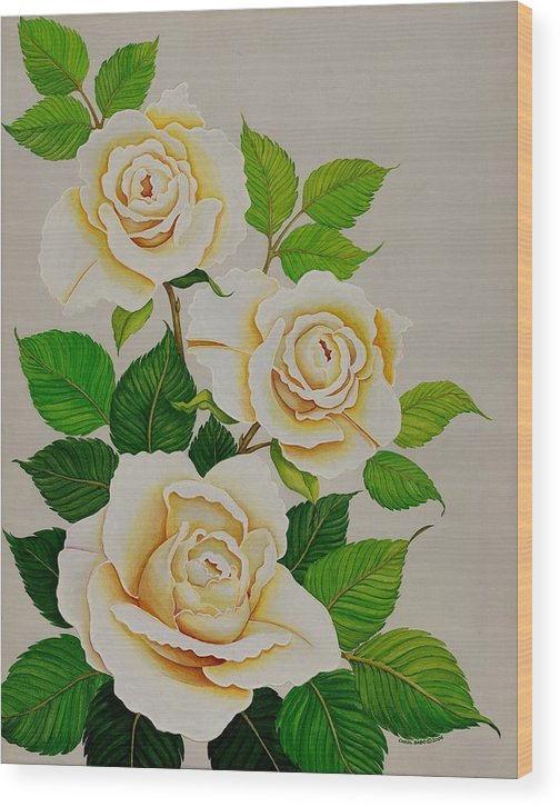 White Roses With Yellow Shading On A White Background. Wood Print featuring the painting White Roses - Vertical by Carol Sabo