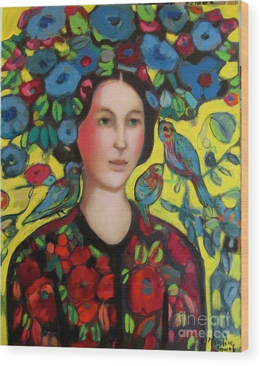 Marilene Sawaf Wood Print featuring the painting Lady and hat by Marilene Sawaf