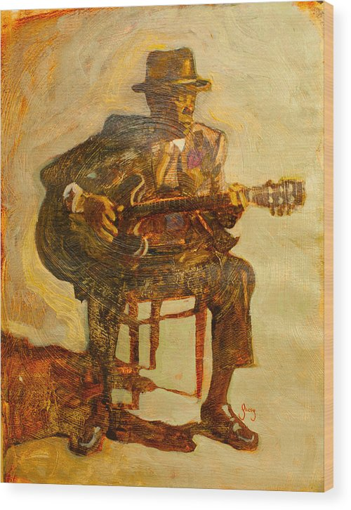 John Lee Hooker Wood Print featuring the painting John Lee Hooker by Michael Facey