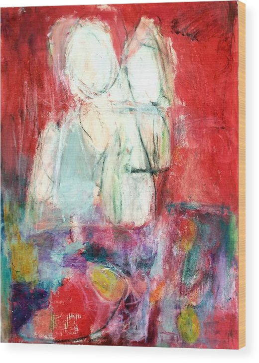 Red Wood Print featuring the painting Tete-a-tete by Patricia Byron