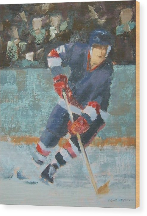 Sports Portrait Wood Print featuring the painting The Winger by Ernie Ferguson