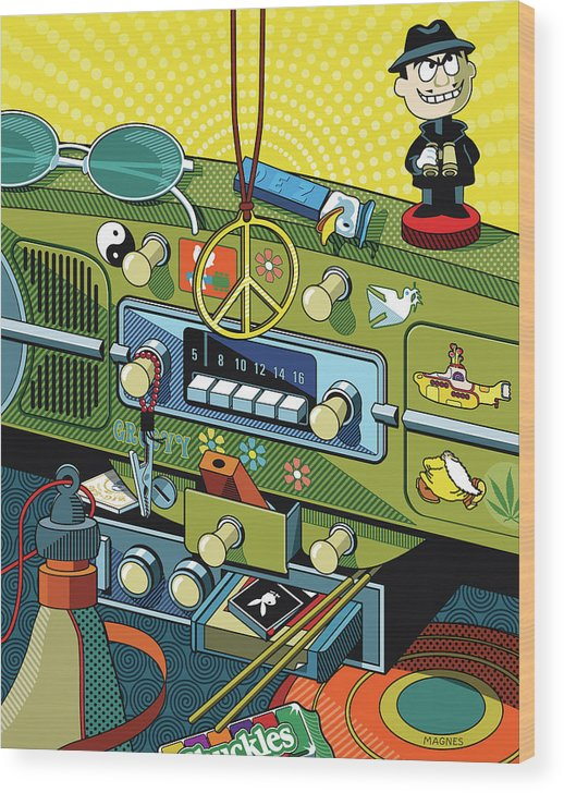 Sixties Wood Print featuring the digital art Road Trip '69 by Ron Magnes