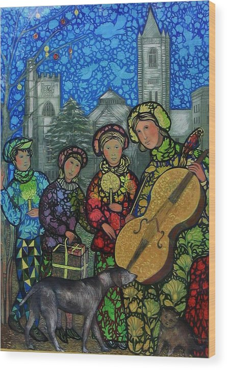 Christmas Wood Print featuring the painting Christmas Holiday Stroll by Marilene Sawaf