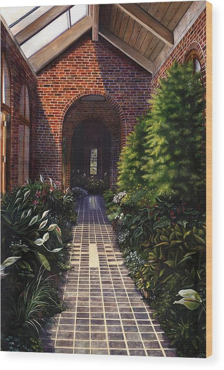 Greenhouse At Kingwood Center In Mansfield Ohio Wood Print featuring the painting Kingwood by Terri Meyer