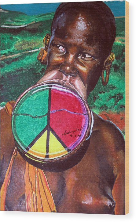 Africa Wood Print featuring the painting Plains of Peace by Andre Ajibade
