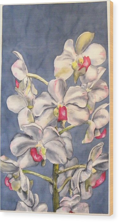 Floral Wood Print featuring the painting Orchids by Diane Ziemski