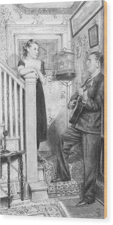 Grand Father Playing The Guitar For My Great Aunt Over 60 Wood Print featuring the drawing The Serenade by Douglas Kochanski