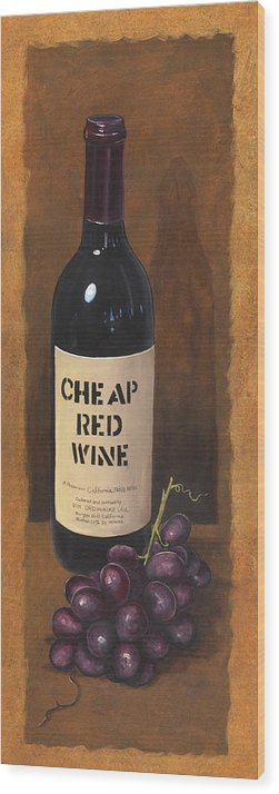 Wine And Grapes Painting Wood Print featuring the painting Cheap Red Wine by Terri Meyer