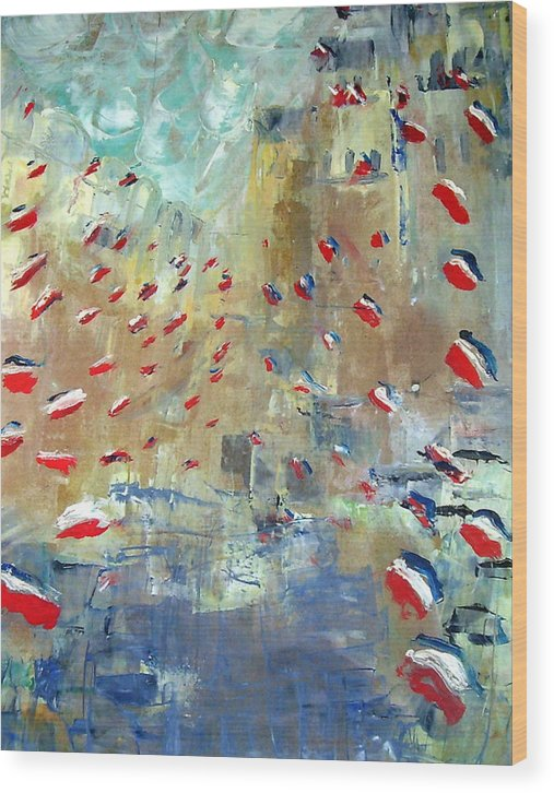 Patriotism Wood Print featuring the painting After Monet's Rue Montorgueil by Michela Akers