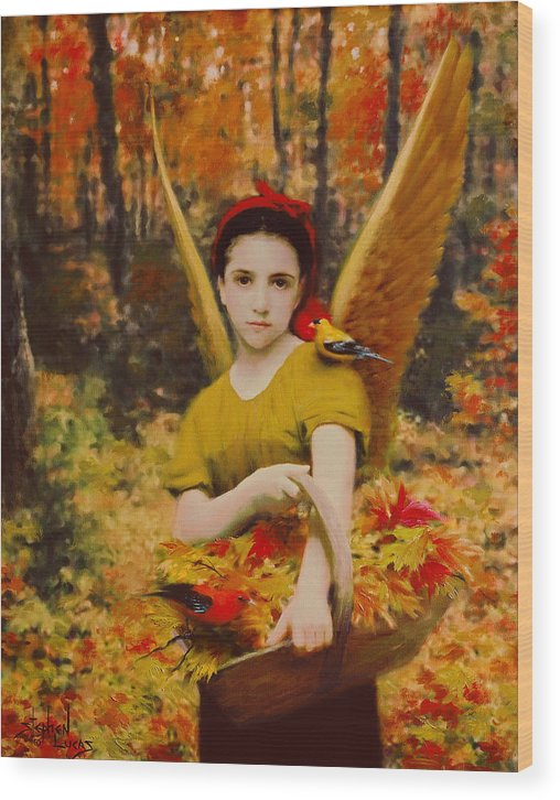 Angel Wood Print featuring the painting Autumn Angels by Stephen Lucas