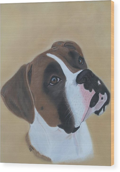 Boxer Wood Print featuring the painting Boxer Portrait by Lori DeBruijn