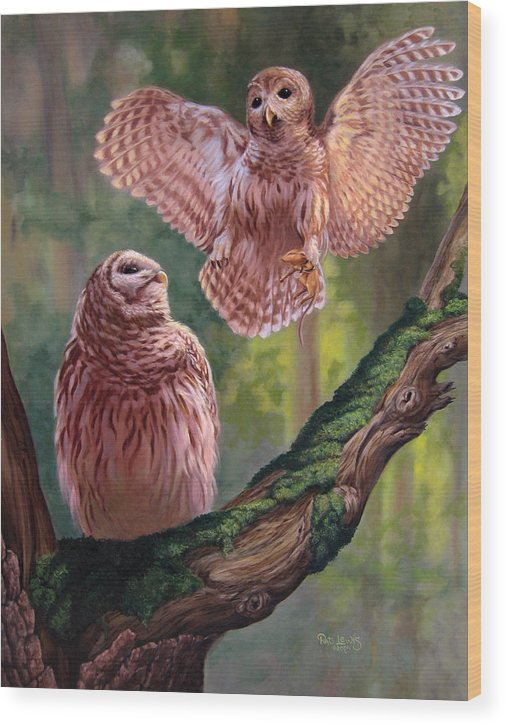 Owls Wood Print featuring the painting Bringing Home Dinner by Pat Lewis