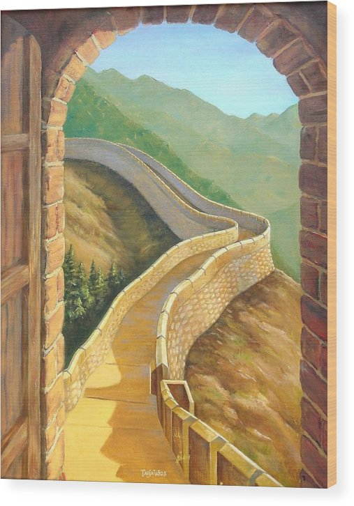 China Wood Print featuring the painting It's A Great Wall by Tanja Ware