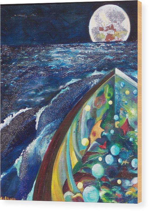 Sea Landscape Wood Print featuring the print SEA by Meltem Quinlan