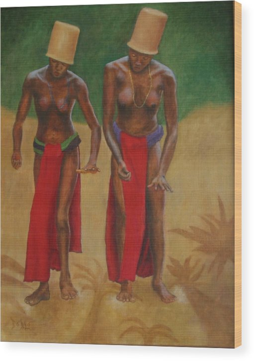 Oil Wood Print featuring the painting Tribal Dancers by Rf Hauver