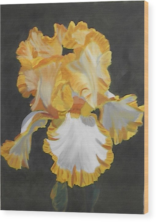 Floral Wood Print featuring the painting Trimmed In Yellow 2 by Robert Tower