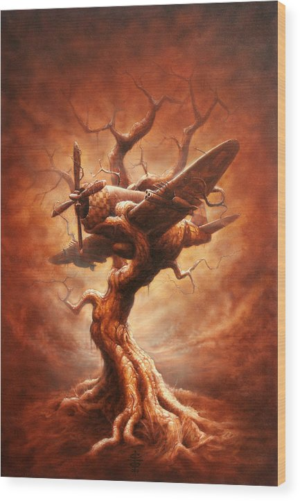 Abstract Wood Print featuring the painting Plane Old Tree by Victor Whitmill