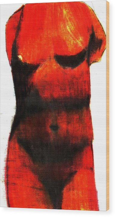 Red Wood Print featuring the drawing Red Aphrodite by Jennifer Ott