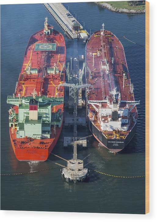 America Wood Print featuring the photograph Oil Tankers Docked At Oil Pier, Down by Dave Cleaveland
