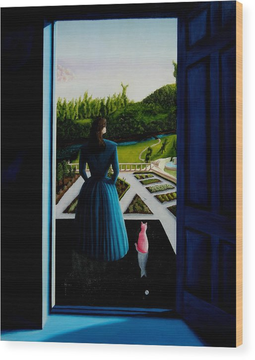 Oil Painting.blue Lady. Garden. Surreal Impressionism Wood Print featuring the painting Blue Lady Thru The Door by Ivan Rijhoff