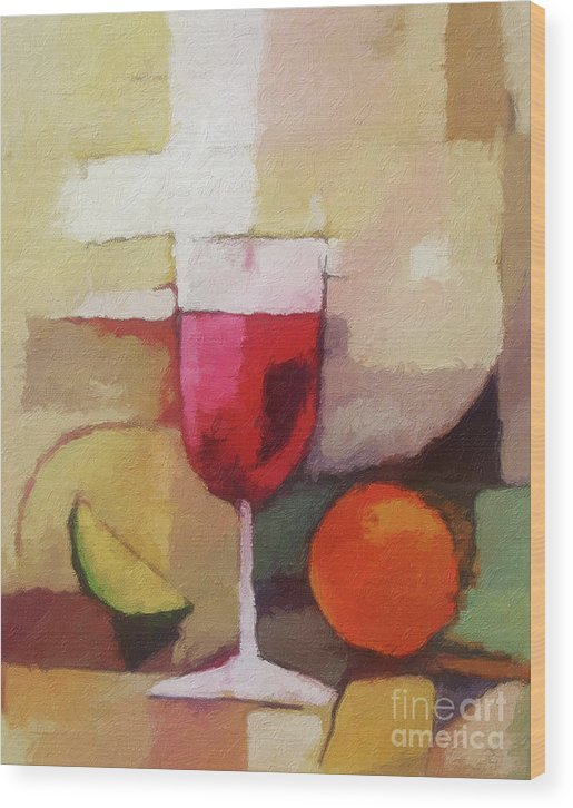 Still Life Wood Print featuring the painting Red Wine by Lutz Baar