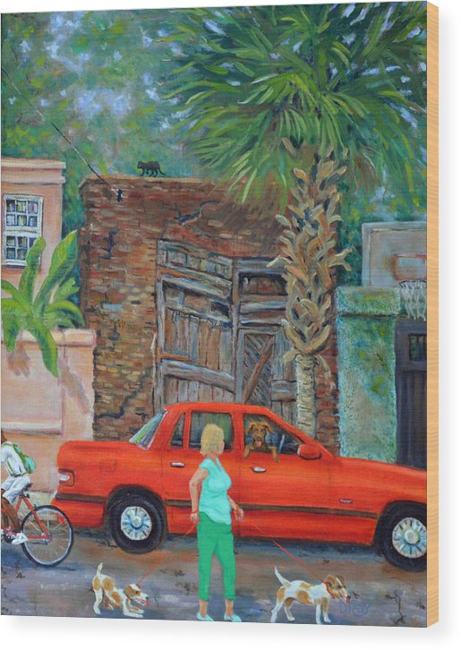Charleston Wood Print featuring the painting Society Street Afternoon by Dwain Ray