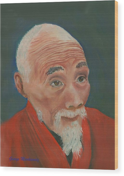 Portrait Wood Print featuring the print Ancient Wisdom by George Markiewicz