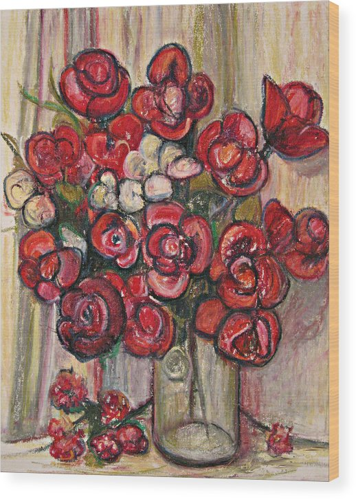 Oil Pastel Red Flowers Still Life Canvas Prints Digitally Enhanced Wood Print featuring the painting Brilliant Red Flower Oil Pastel by Beverly Trivane