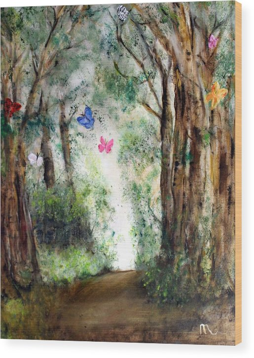 Landscape Wood Print featuring the painting Butterfly Forest by Michela Akers