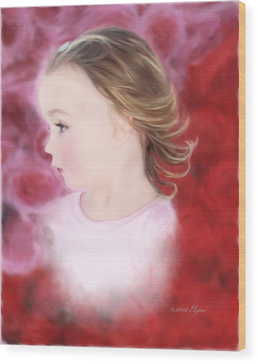 Little Girl Wood Print featuring the painting In The Pink by Elzire S