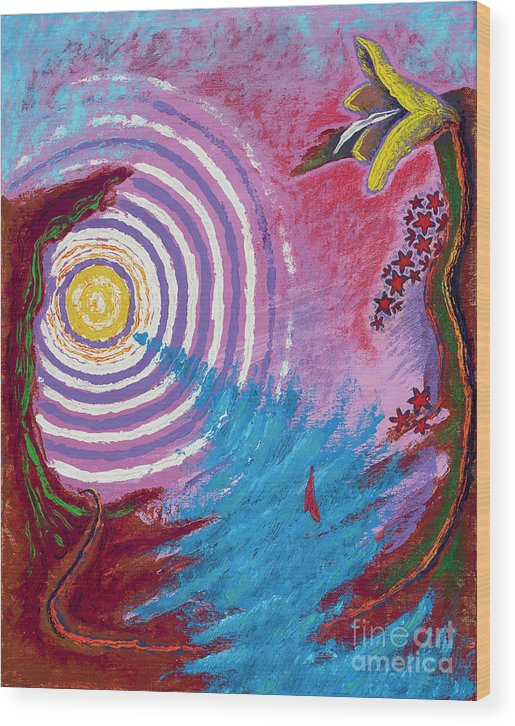 Surreal Painting Wood Print featuring the painting Sailing Through My Thoughts by Tex Bishop