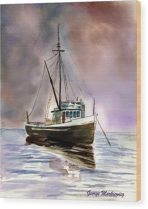 Ocean Boat Wood Print featuring the print Ship Stormy Weather by George Markiewicz
