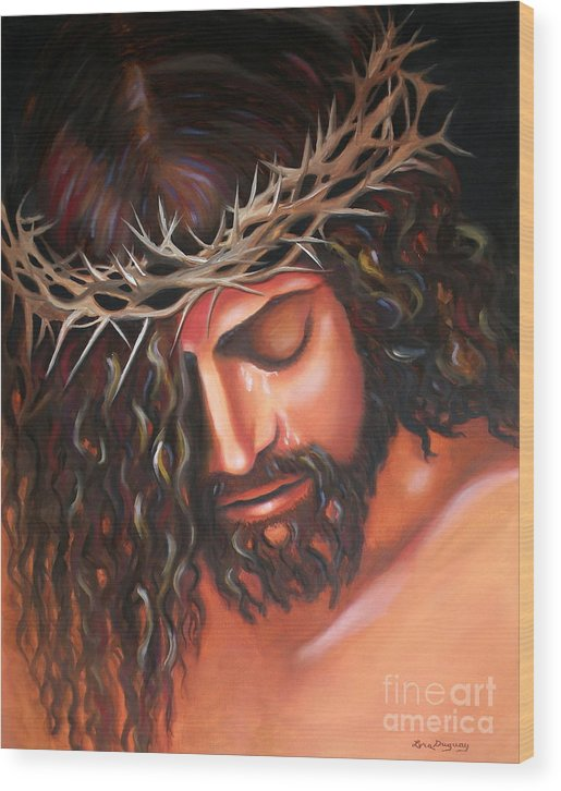Crown Of Thorns Wood Print featuring the painting Tears From The Crown Of Thorns by Lora Duguay