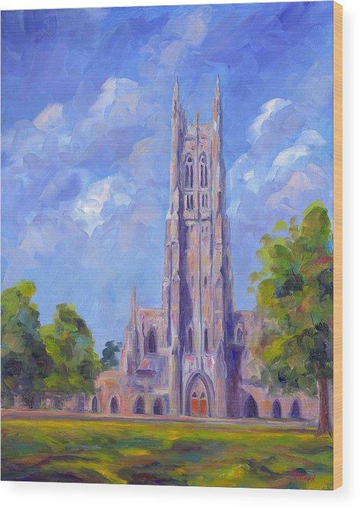 Duke Chapel Wood Print featuring the painting The Chapel At Duke University by Jeff Pittman