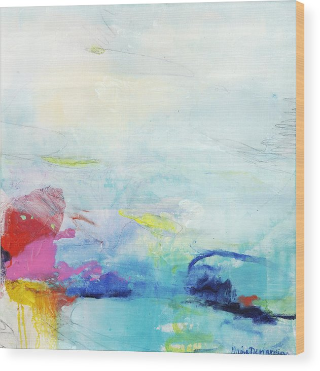 Abstract Wood Print featuring the painting Somewhere Else by Claire Desjardins