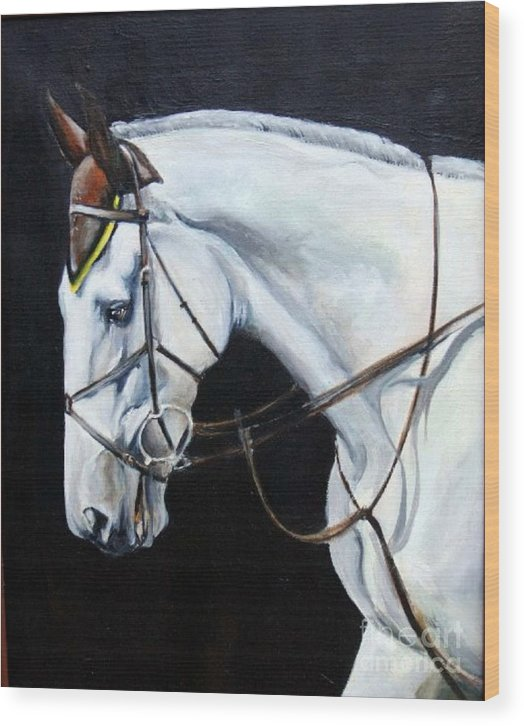 Horse Wood Print featuring the painting Grand Prix by Adele Pfenninger
